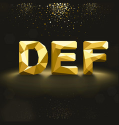 Golden lowpoly font from d to f vector