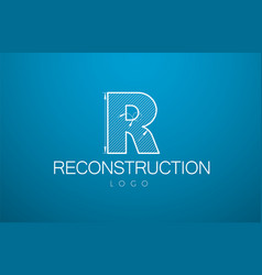 logo template letter r in the style of a vector image vector image