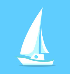 sailing ship white icon isolated on blue vector image