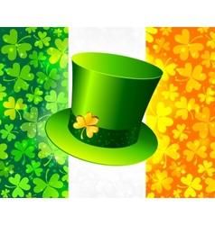 Saint Patricks hat on Irish flag vector image
