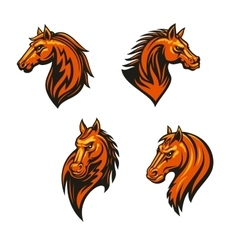 Tribal wild horse or mustang head icon set vector image vector image