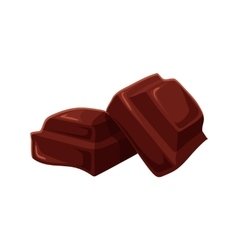 Two pieces of chocolate isolated on white vector image