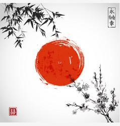 bamboo leaves sun and sakura blossom vector image vector image