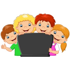 Cartoon happy family with laptop vector image