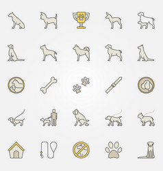 dog colorful icons set vector image vector image