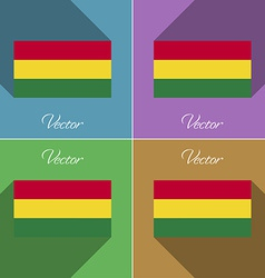 Flags Bolivia Set of colors flat design and long vector image vector image