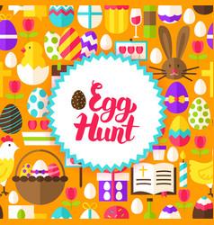 flat egg hunt postcard vector image vector image