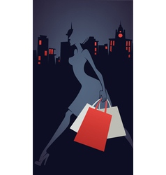 shopping in the city vector image vector image