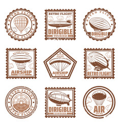 vintage airship stamps set vector image vector image