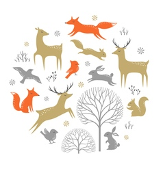 Winter forest design elements vector image vector image