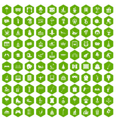100 amusement icons hexagon green vector