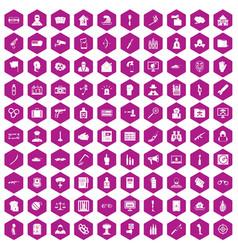 100 violation icons hexagon violet vector