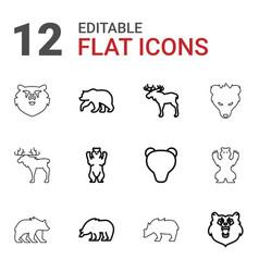 12 alaska icons vector image