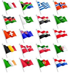 3d international flags set 2 vector image