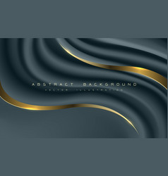 abstract dark blue fabric wave gold line curve vector image