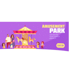 amusement park horizontal banner vector image