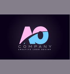 Ao alphabet letter join joined letter logo design vector