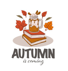 autumn latte hot drink books and fall leaves in vector image
