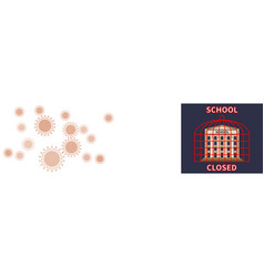 Banner with coronavirus cells and school building vector