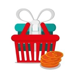 Basket and shopping online design vector
