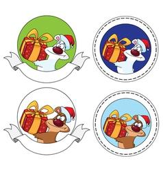 bear and gift box banner vector image