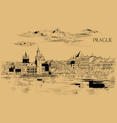 Beige hand drawing prague vector