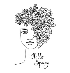 Black and white spring girl with flower hair vector