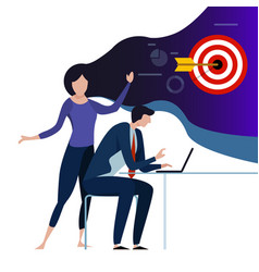 business woman envision target to co-worker to vector image