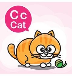 C cat color cartoon and alphabet for children vector