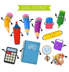 Cartoon 3d characters of school writing vector