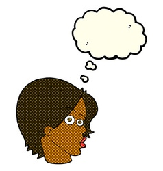 cartoon female face with thought bubble vector image