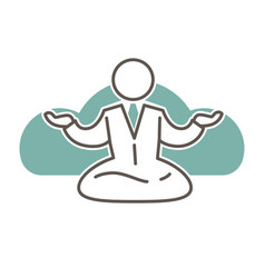Character in suit and tie sits in lotus pose vector