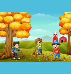 Children raking leaves in the farmyard during fall vector