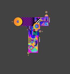 Colorful alphabet font letter t for logo vector