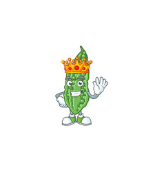 Cool king bitter melon on cartoon character vector