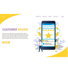 Customer review website landing page design vector