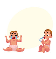 cute little baby kid infant actions - crawling vector image