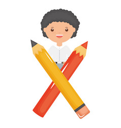 cute little student boy with pencil and color vector image