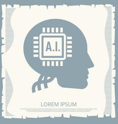 Cyborgs retro poster design with microchip vector