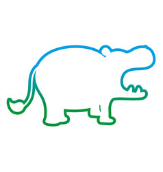 degraded line silhouette hippopotamus safari wild vector image