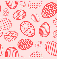 easter egg seamless pattern red color holiday vector image