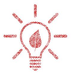 Eco light bulb fabric textured icon vector