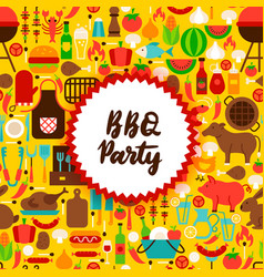 Flat bbq party postcard vector