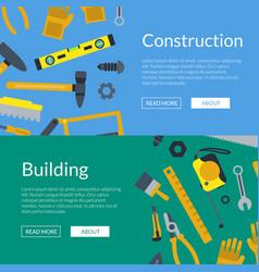 Flat construction tools web banner vector
