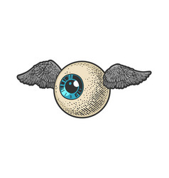 flying eyeball sketch vector image