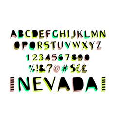 font alphabet script typeface label vector image