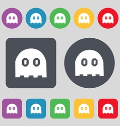 Ghost icon sign A set of 12 colored buttons Flat vector