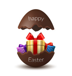 Gift box happy easter egg surprise broken vector