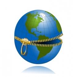 globe on lock vector image