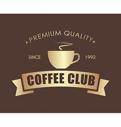 Gold Coffee logo with a ribbon for a cafe or shop vector image